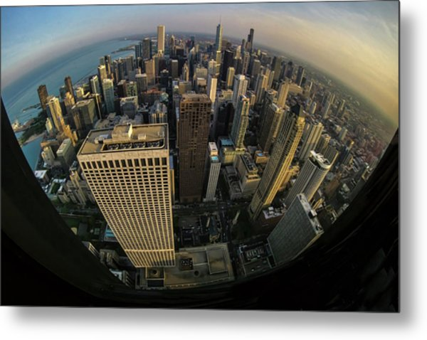 Fisheye View Of Dowtown Chicago From Above  Metal Print