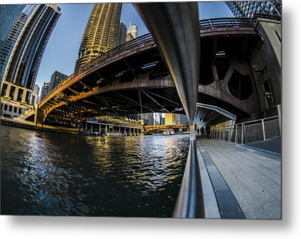 Fisheye View From The Chicago Riverwalk Metal Print