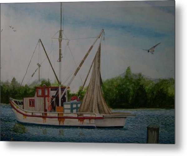 Fishin' Boat Metal Print by Tabitha Marshall