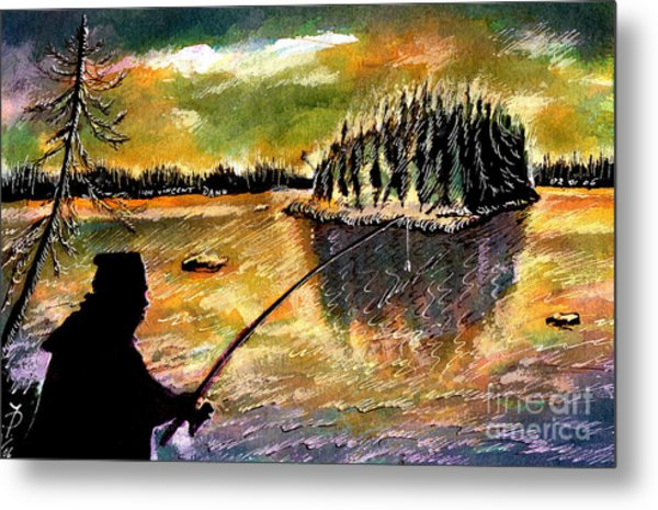 Fishing At Twilight Metal Print by Ion Danu