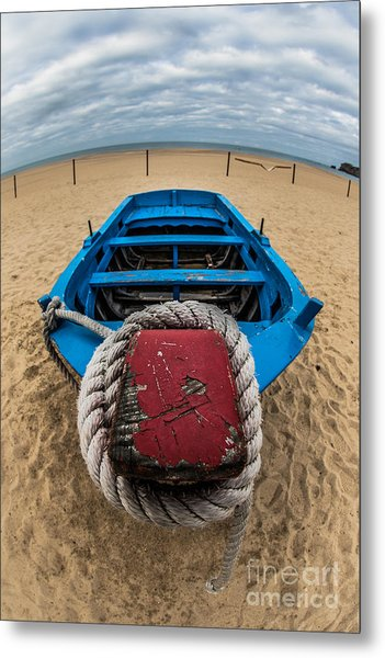 Little Blue Fishing Boat Metal Print