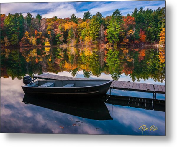 Fishing Boat On Mirror Lake Metal Print