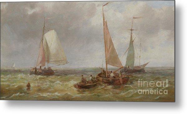 Fishing Boats At Sea Metal Print