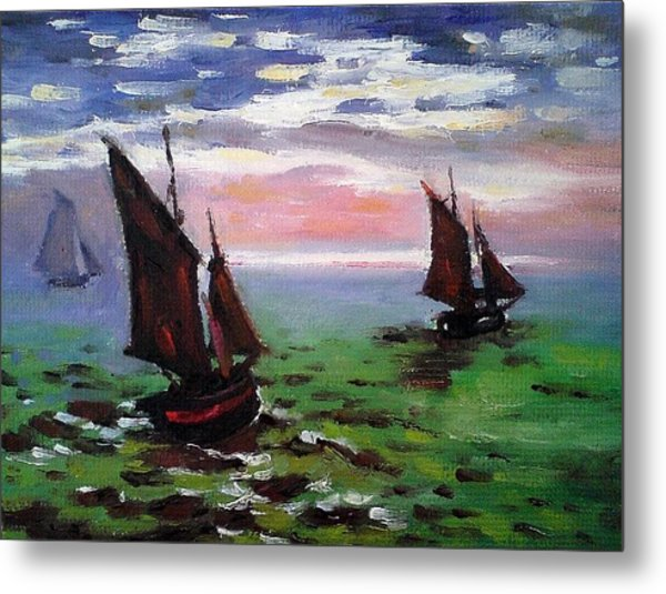 Fishing Boats At Sea Metal Print by Peter Kupcik