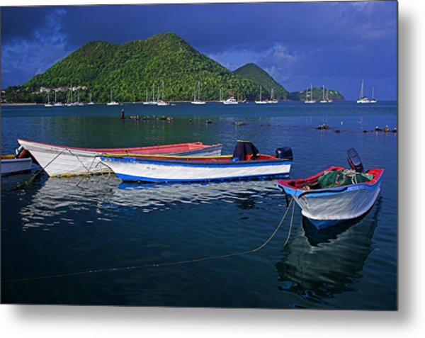 Fishing Boats At Sunrise- St Lucia Metal Print