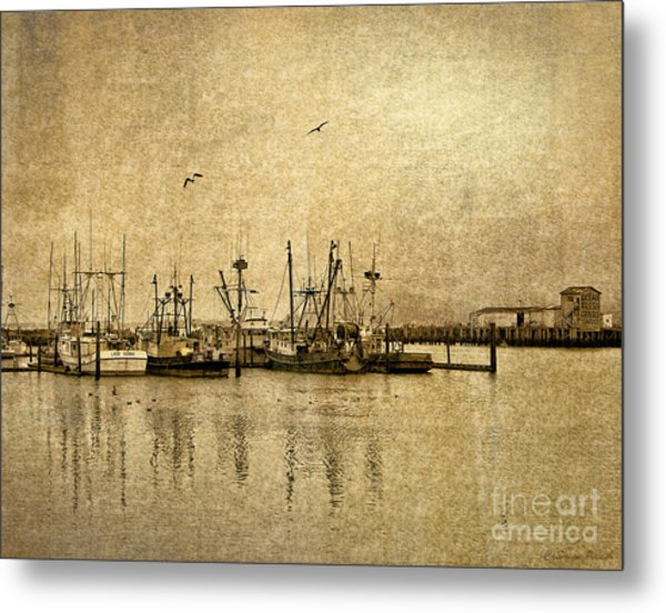 Metal Print featuring the photograph Fishing Boats Columbia River In Sepia by Susan Parish