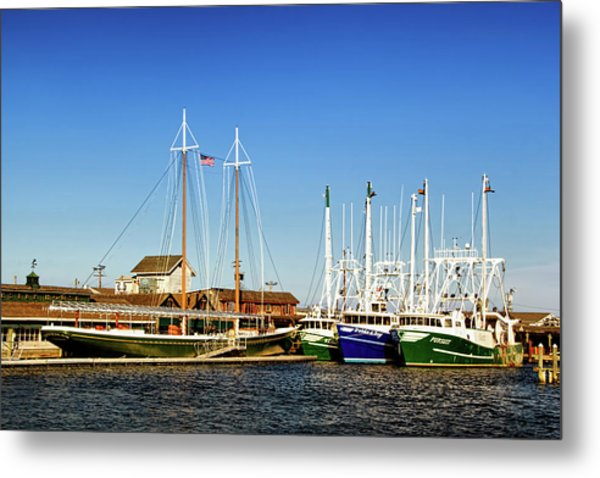 Fishing Boats In Cape May Harbor Metal Print