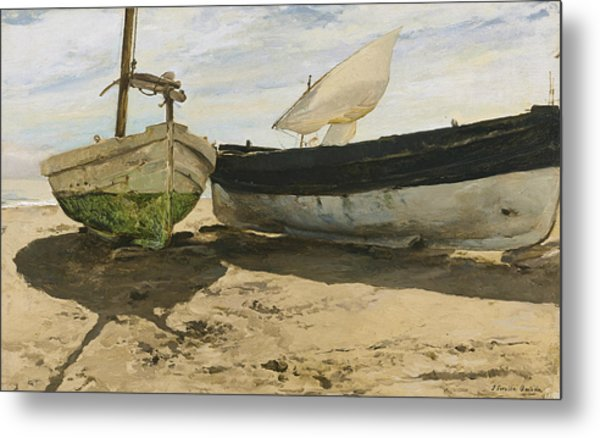 Fishing Boats On The Beach, Valencia Metal Print