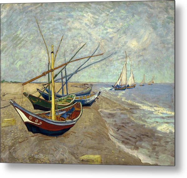 Metal Print featuring the painting Fishing Boats On The Beach by Van Gogh