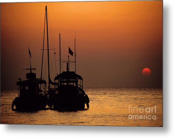 Fishing Boats Together At Sunset Metal Print by Sami Sarkis