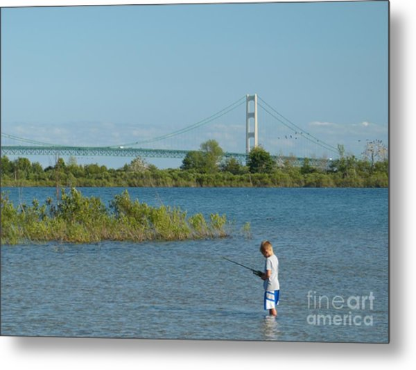 Fishing By The Macinac Metal Print