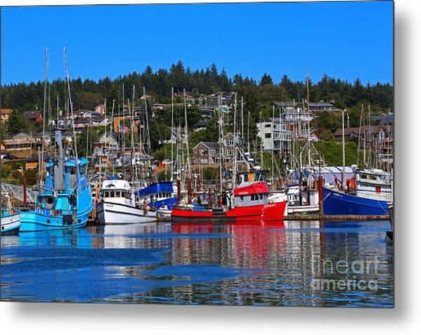 Fishing Fleet At Newport Harbor Metal Print