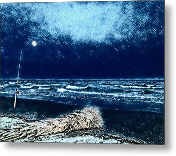 Fishing For The Moon Metal Print