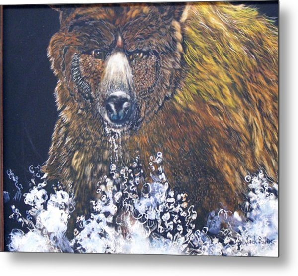 fishing Grizzly SOLD Metal Print