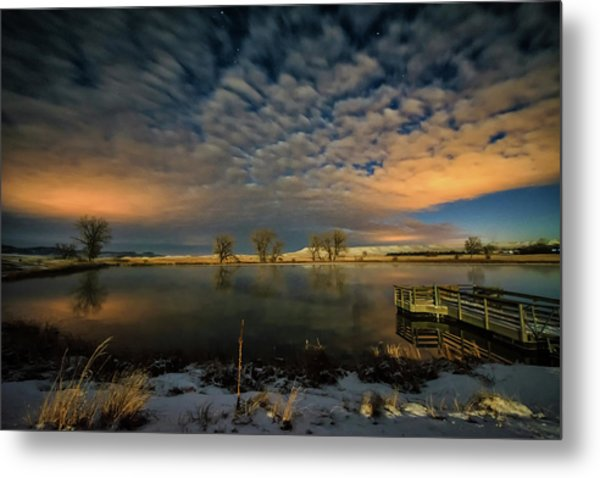 Fishing Hole At Night Metal Print