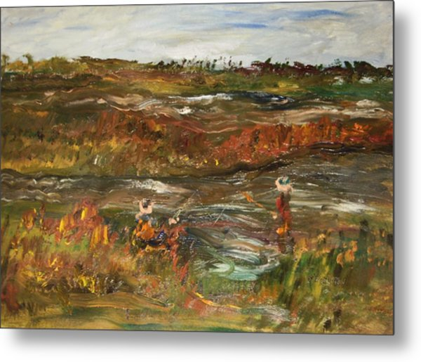 Fishing In The Backwoods Metal Print by Edward Wolverton