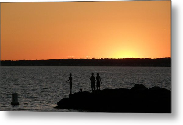 Fishing In The Sound Metal Print by Steven W Rand