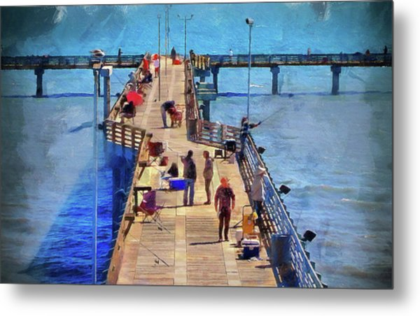Fishing Off Galvaston Pier Metal Print
