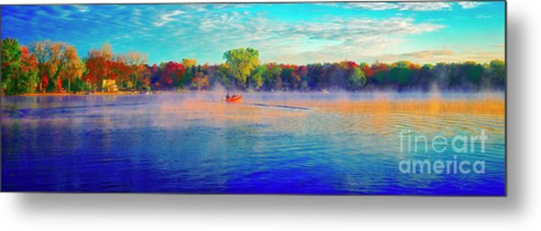 Fishing On Crystal Lake, Il., Sport, Fall Metal Print