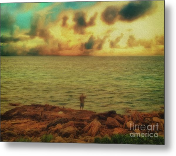 Metal Print featuring the photograph Fishing On The Rocks by Leigh Kemp