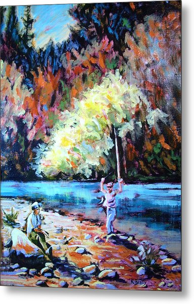 Fishing Painting Catch Of The Day Metal Print