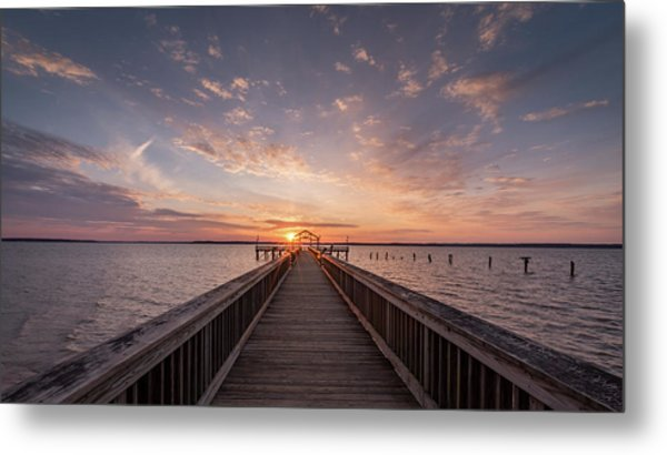Fishing Pier Sunrise Metal Print by Michael Donahue