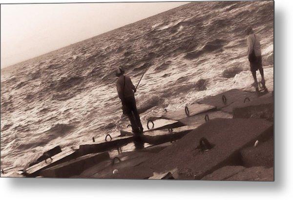 Men Fishing, Alexandria, Egypt Metal Print