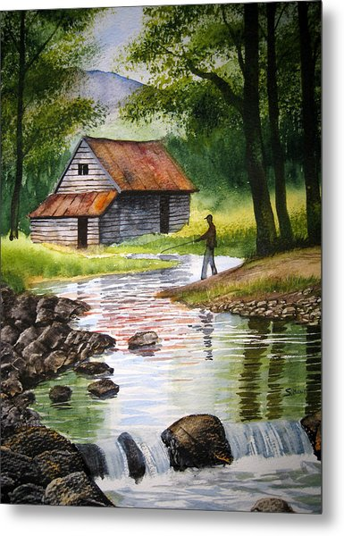 Fishing Upstream Metal Print