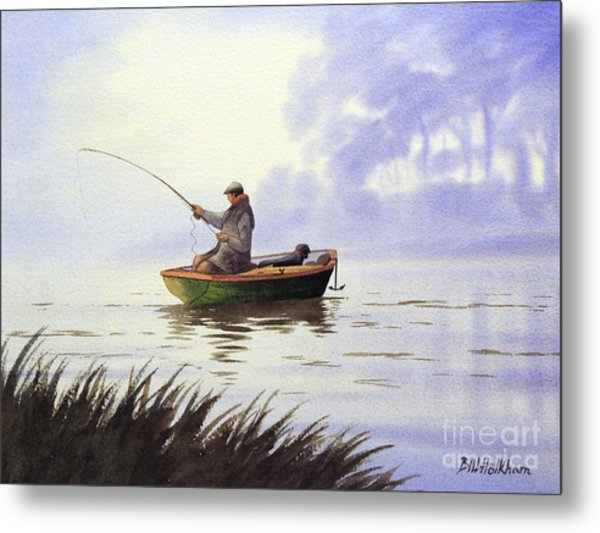 Fishing With A Loyal Friend Metal Print