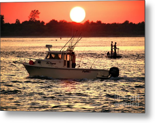 Fishing With Friends At Long Beach Island Metal Print by John Rizzuto