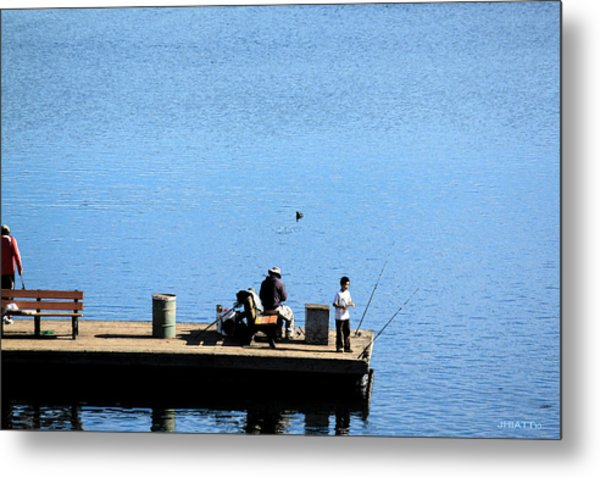 Fishing With Grandpa Metal Print