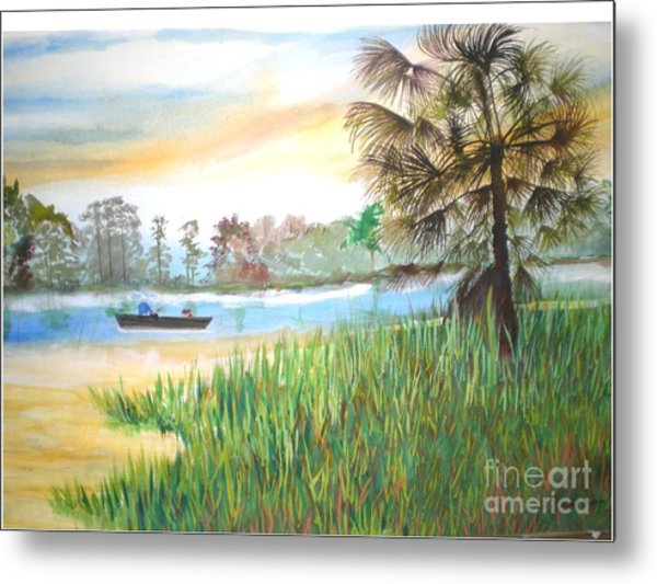 Fishing With My Son Metal Print by Hal Newhouser