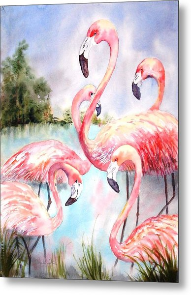 Five Flamingos Metal Print
