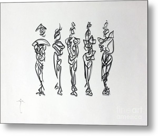 Metal Print featuring the drawing Five Muses by James Lanigan Thompson MFA
