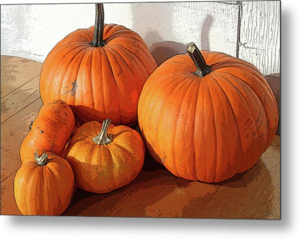 Five Pumpkins Metal Print