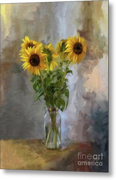 Five Sunflowers Centered Metal Print