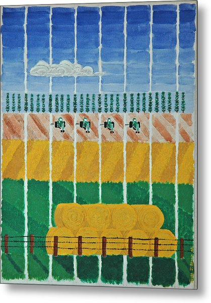 Five Tractors Metal Print