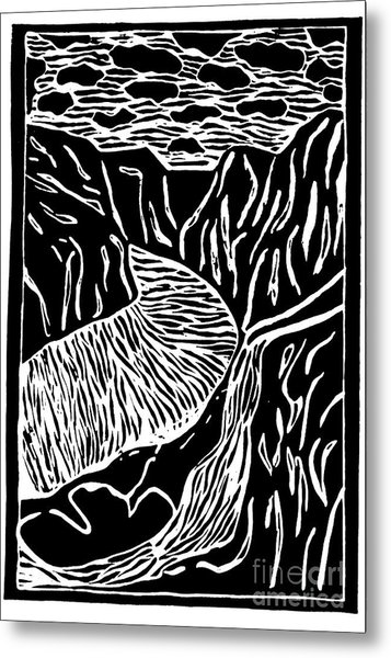 Fjord Norway - Limited Edition Linocut Print Metal Print by Sascha Meyer