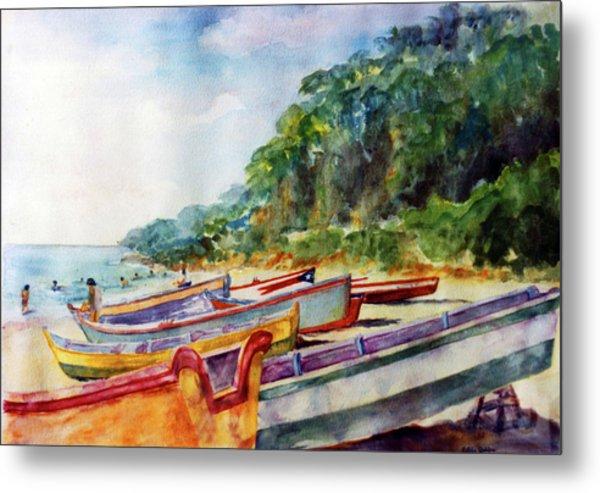 Flag Boat Crashboat Beach Metal Print by Estela Robles