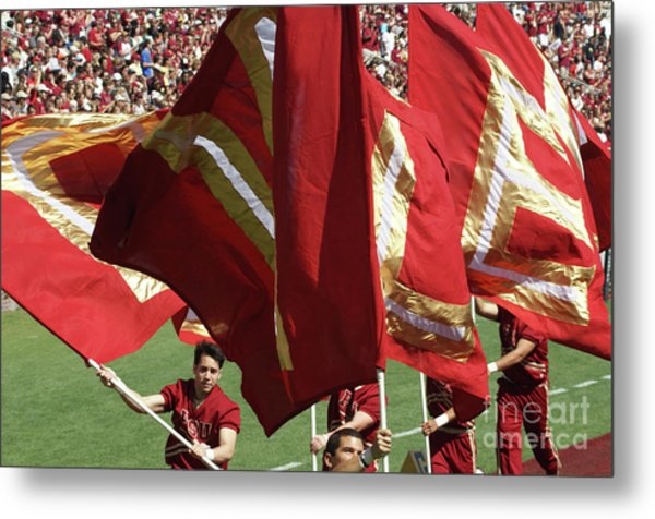 Flag Huddle Metal Print by Allen Simmons