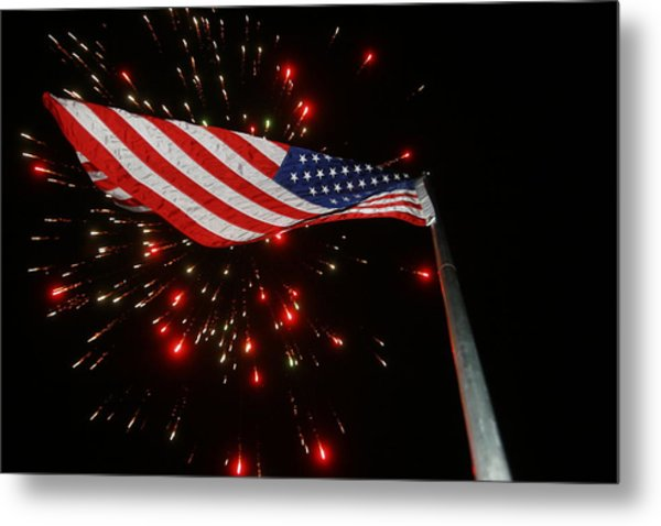 Flag In All Its Fiery Glory Metal Print