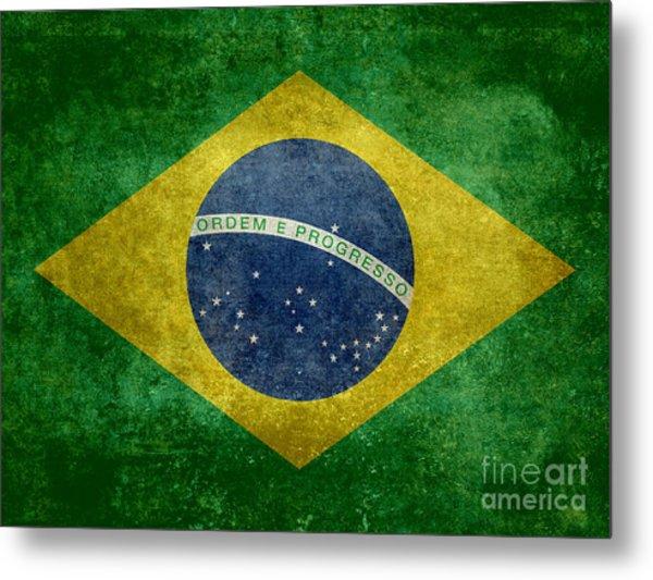 Flag Of Brazil Vintage 18x24 Crop Version Metal Print