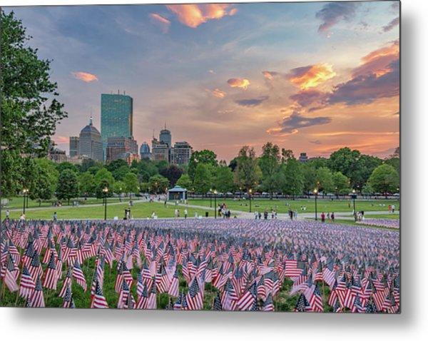 Flag Sunset On Boston Common Metal Print