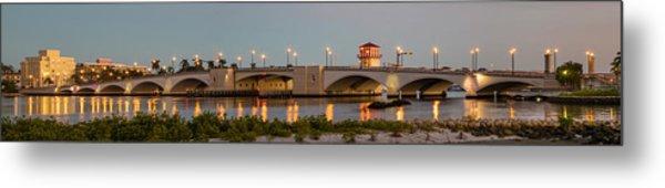 Flagler Bridge In Lights Panorama Metal Print