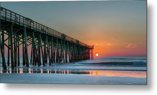 Flagler Pier Sunrise Metal Print