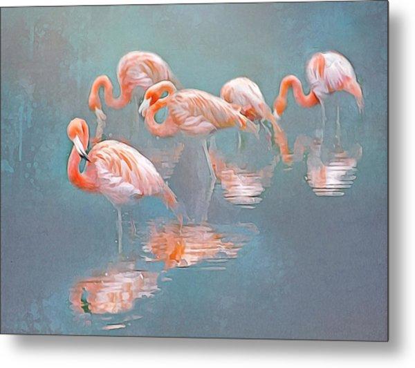 Flamingo Blues Metal Print