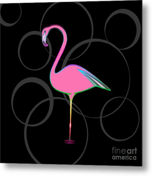 Flamingo Bubbles No 1 Metal Print
