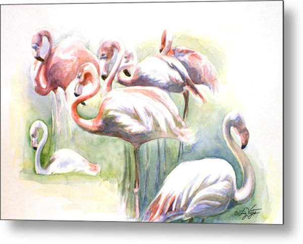 Flamingo Fiesta Metal Print