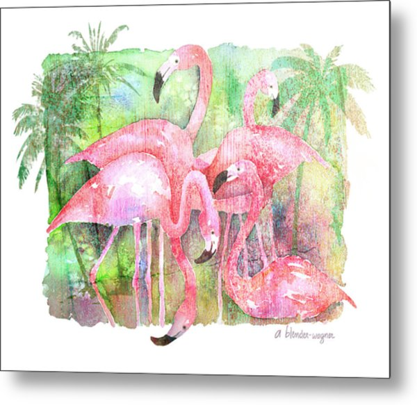 Flamingo Five Metal Print