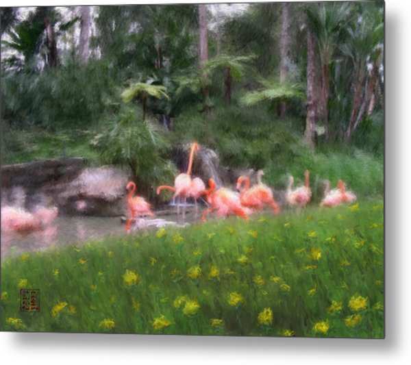 Flamingo Garden Metal Print